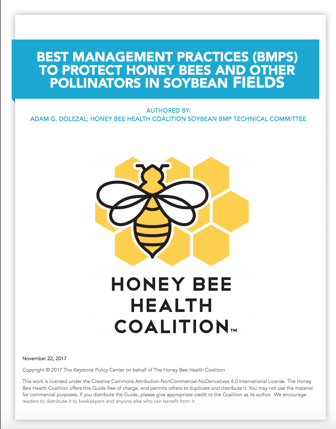 PDF cover of BMPS to Protect Pollinators in Soybean Fields