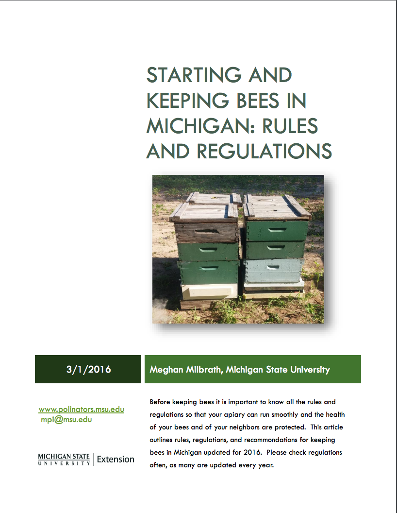PDF cover of Starting and Keeping Bees in Michigan
