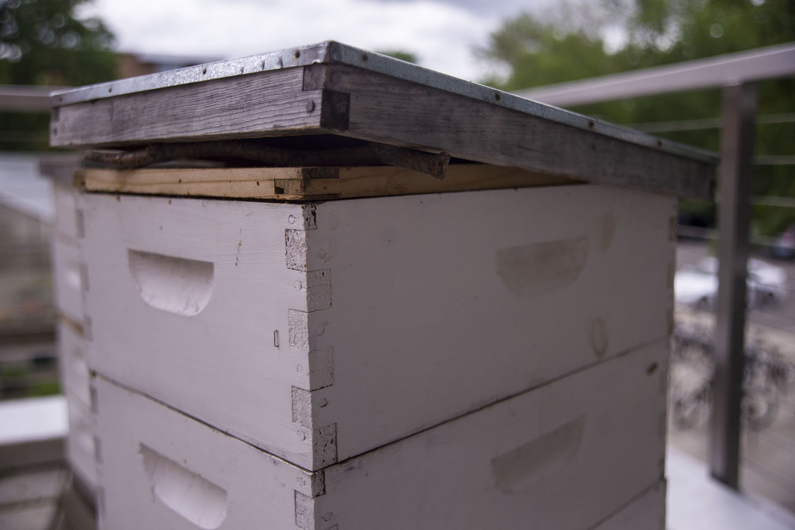 Propped hive cover
